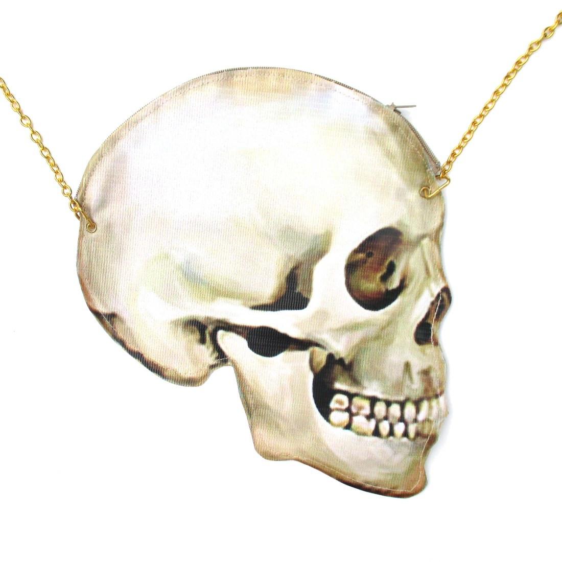 Quirky skeleton skull bones head shaped vinyl cross body shoulder bag  handmade original 915491b88ba7b