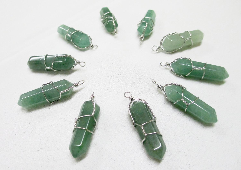 Green aventurine wire wrapped point pendant necklace quartz crystal pendantaventurinewirewrap2 small aloadofball Choice Image