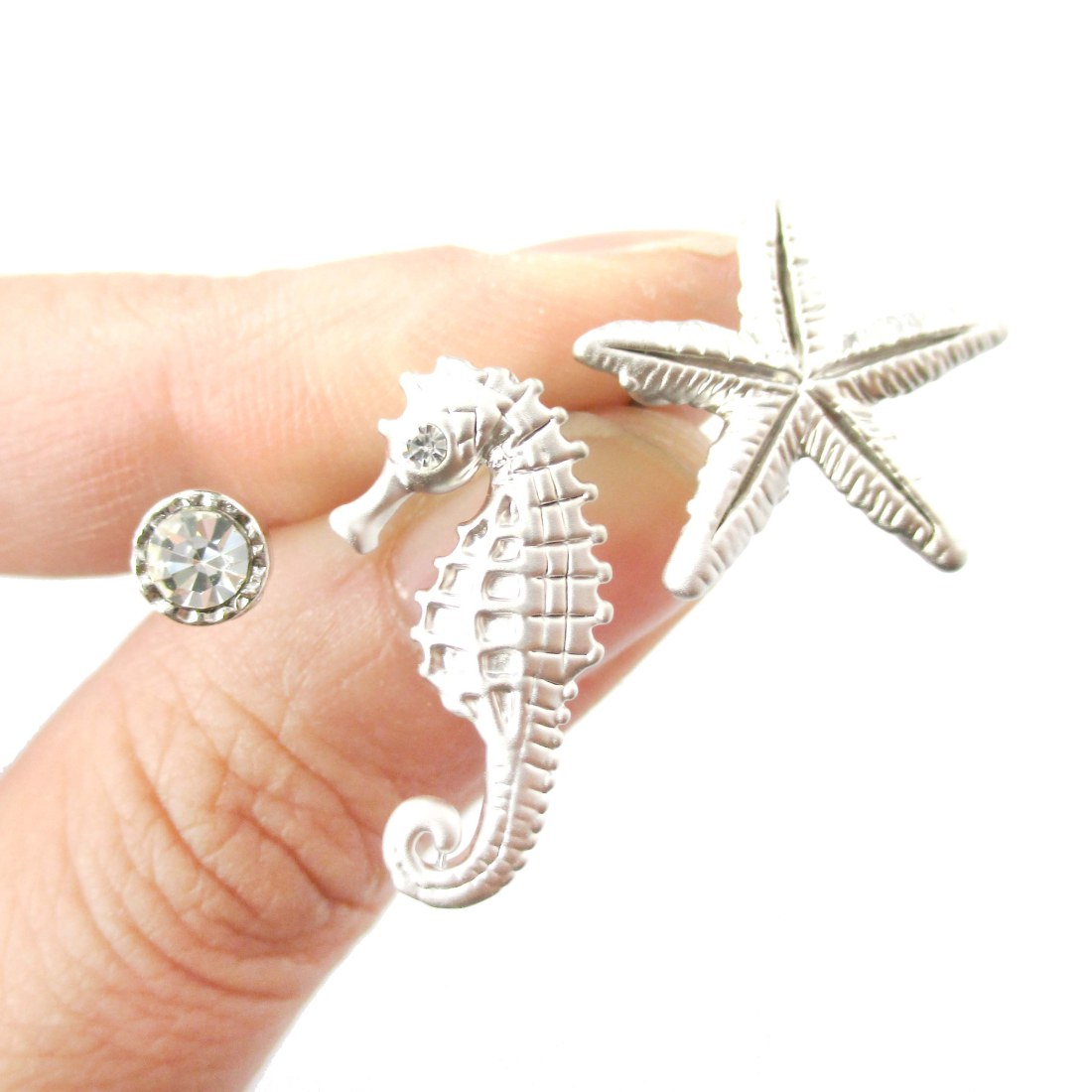 Pretty Seahorse And Starfish Shaped Allergy Free Silver Stud Earrings Sold By Dotoly Animal Jewelry On Storenvy