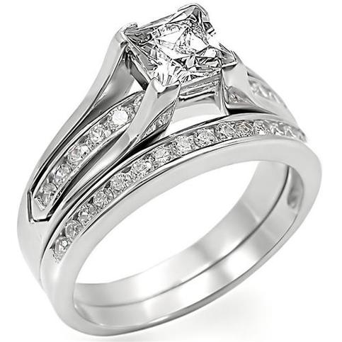 stainless steel wedding ring sets princess cut stainless steel cz wedding ring set on storenvy 7661