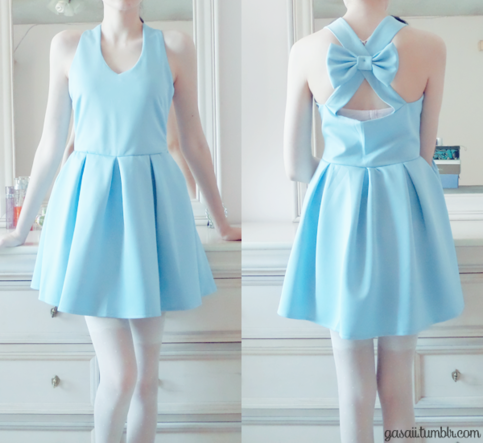 Pastel blue dress with bow on Storenvy