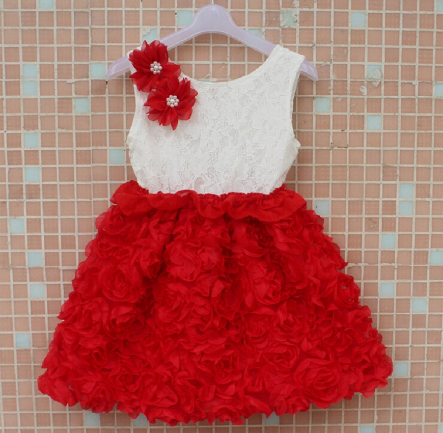 399e130bbc9a 2014 new Christmas rosette flower girls dress, lace sleeveless dress for  girl