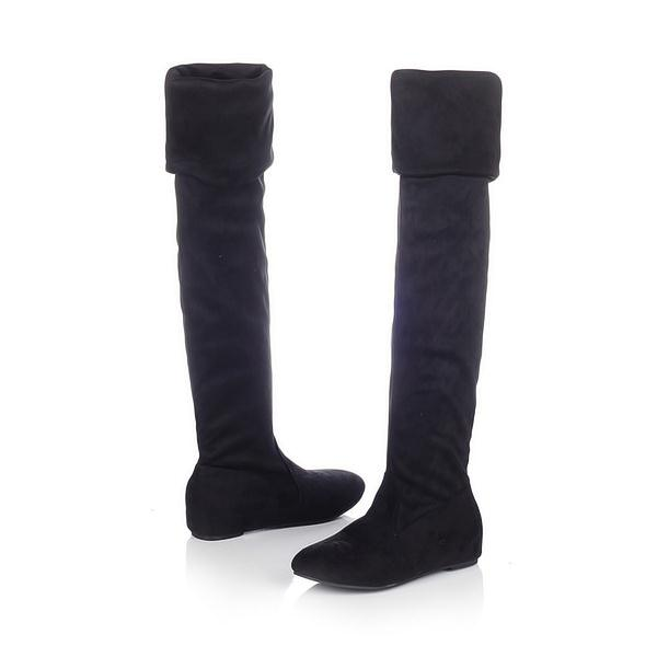 7ed4237b714d Black spring boots woman Boots for women Sexy Inside Heel Stretched Faux  Suede Over Knee Length
