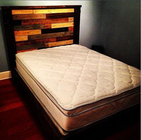 Rustic Platform Bed W Multicolor Plank Headboard