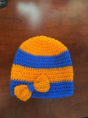 342eeb14b92 Girls Crochet Blue and Orange Striped Beanie · Erayesgirl · Online ...