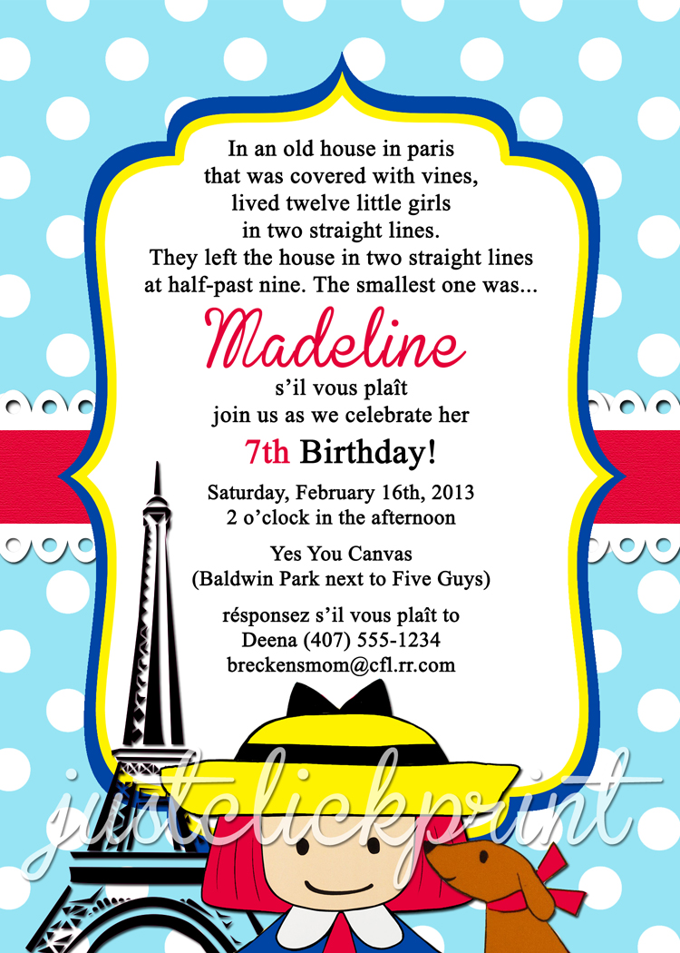 Madeline French Paris Birthday Invitation Printable