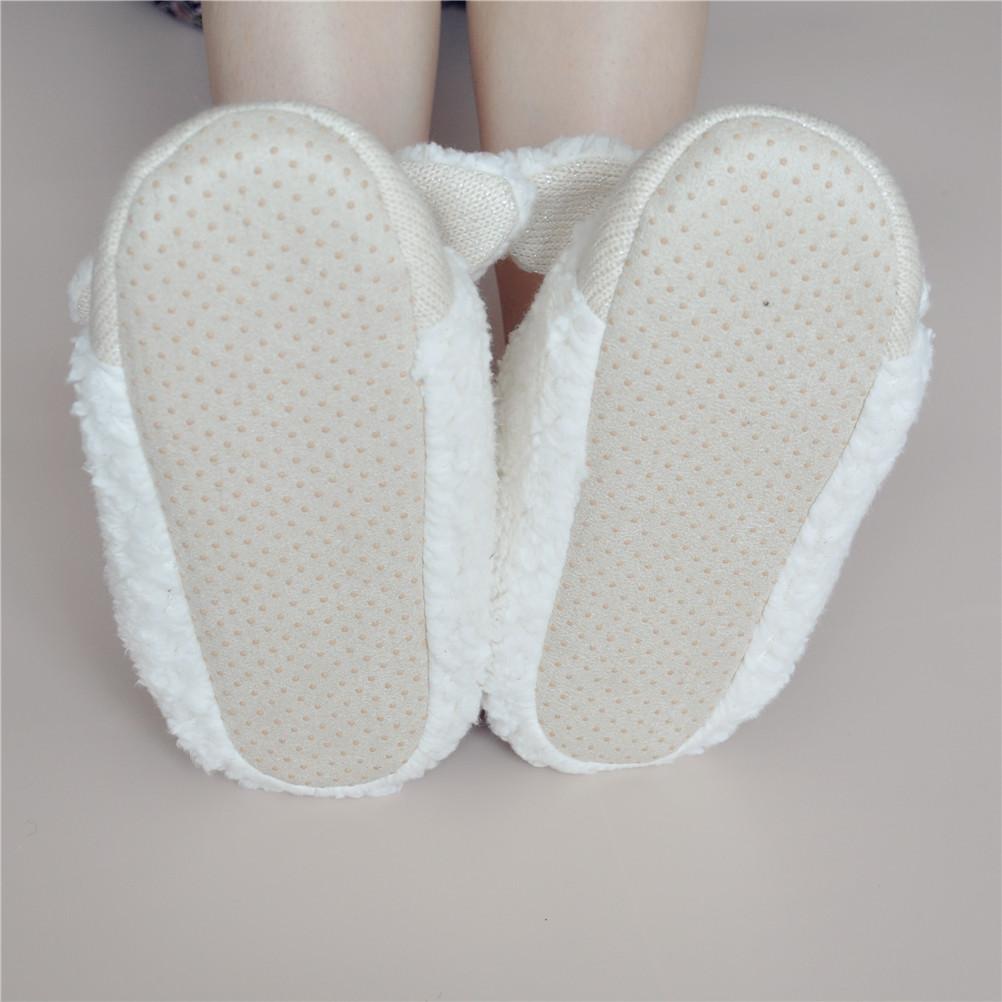 6506ce11b1a ... Women s Bowtie Sheep Shape Faux Fur White Slippers S101402 - Thumbnail 4