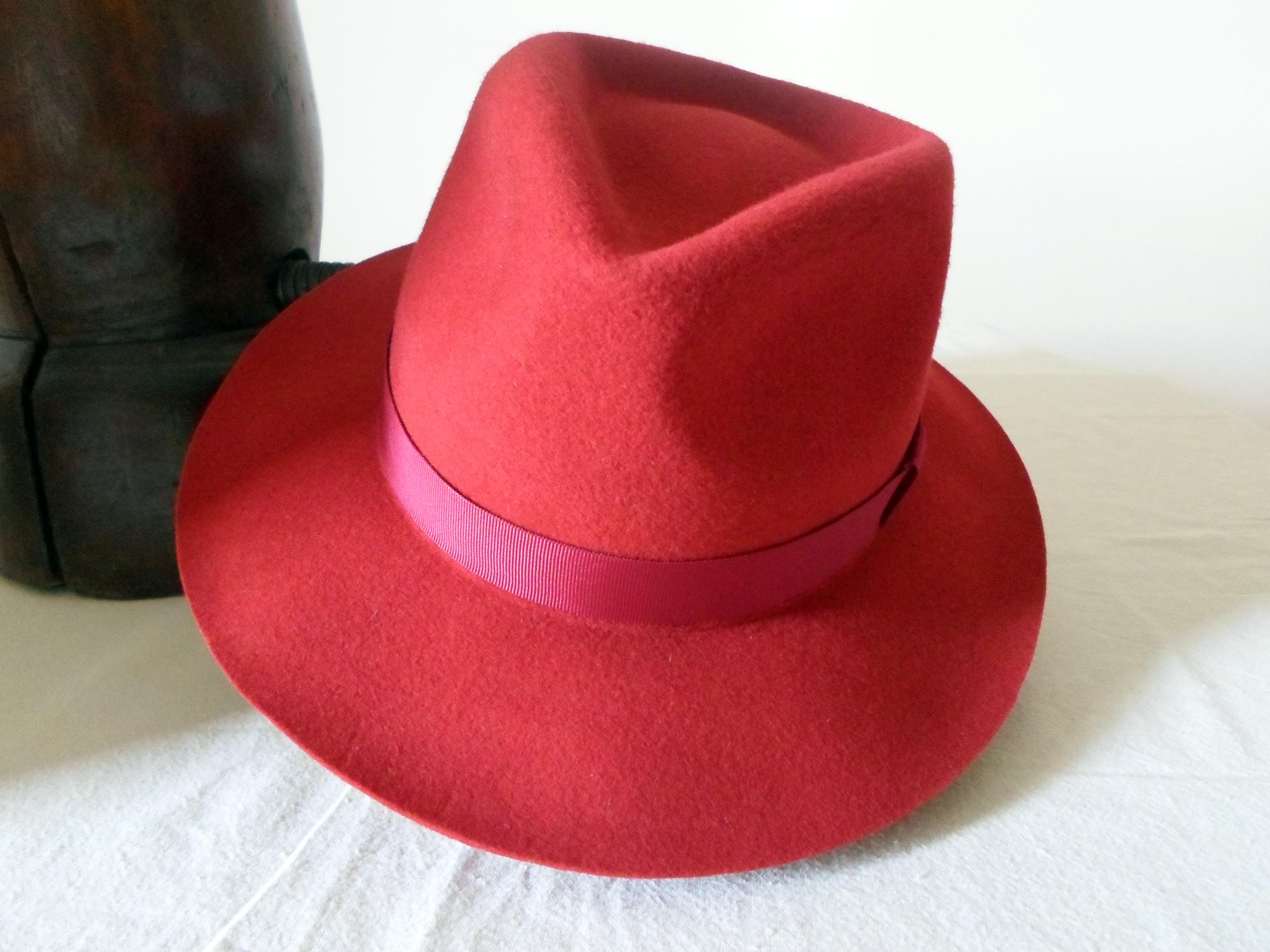 Red Wool Felt Fedora - Wide Brim Merino Wool Felt Handmade Fedora ... c9fb349b410