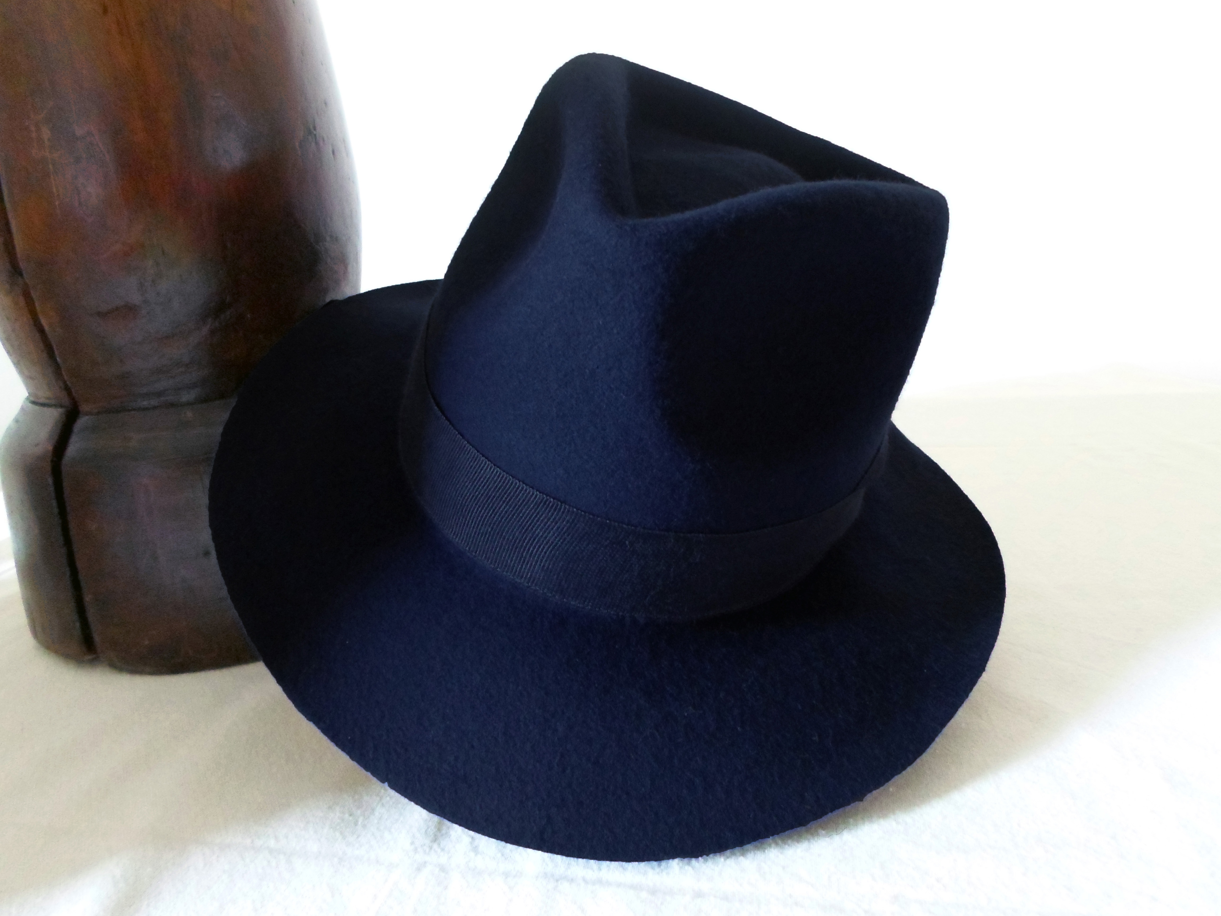 Navy Blue Wool Felt Fedora - Wide Brim Merino Wool Felt Handmade ... 3c27c0687