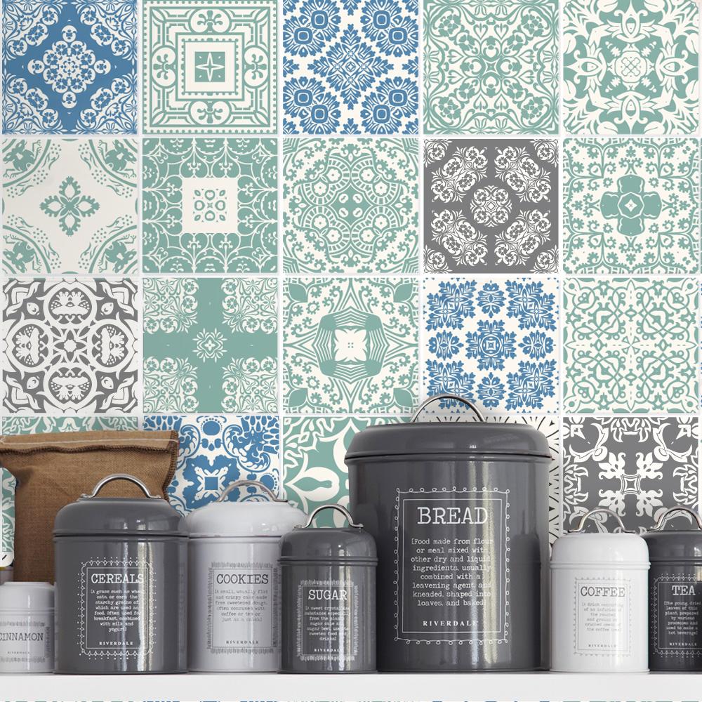 Decorative Tiles Sticker for Kitchen Remodel Blue Pastel (Pack 36 ...