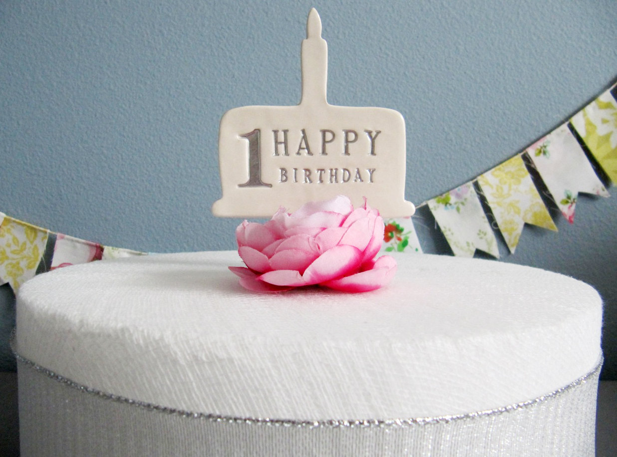 1st Birthday Cake Topper In Silver Gold Blue Pink Or