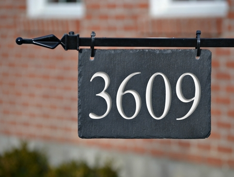Hanging Slate Address Marker House Numbers Lamppost On