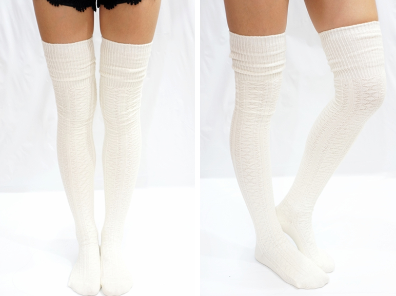 590b9d5363b38 ... Cozy Cable Knit Thigh high socks Boot socks -Black - Thumbnail 3