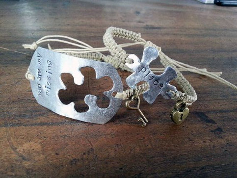 Christmas Gift Engraved Couples Bracelet His Hers
