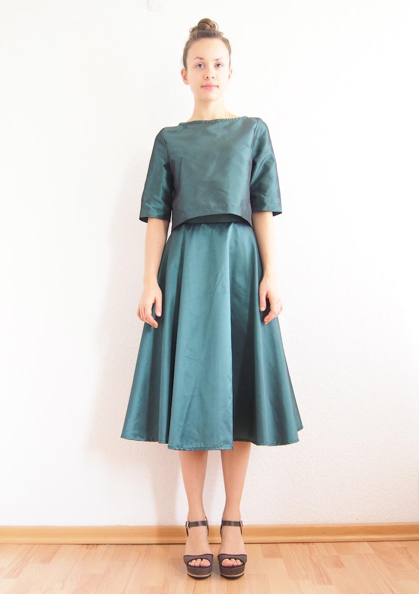 classic women convenience goods Crop Top Full Midi Skirt Two Piece Set Metallic Turquoise from BATURINA