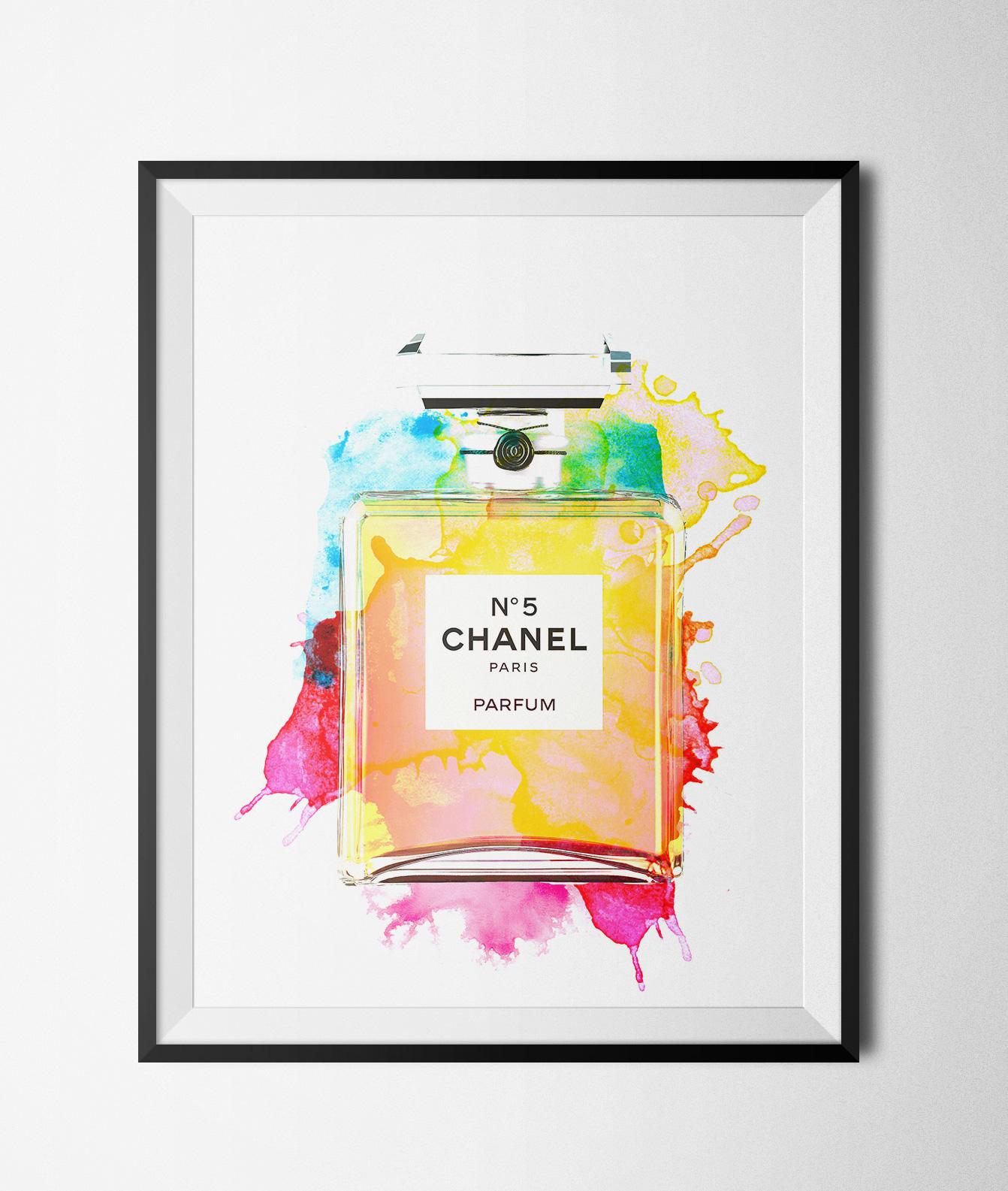 photo regarding Chanel Printable known as Watercolor Chanel Bottle Printable 8x10\