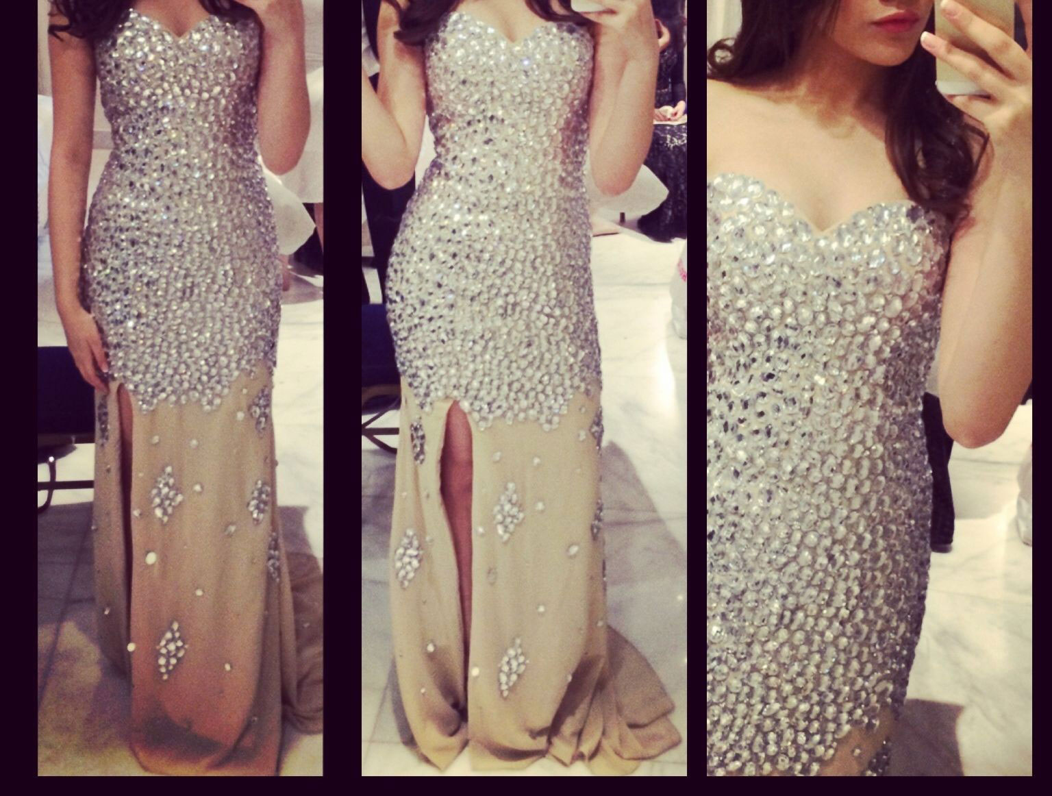 23f434dd7d5 Luxury Crystal Beaded Strapless Sweetheart Neck Champagne Chiffon Long Prom  Dresses Jessica Rabbit Sexy 2015 Party