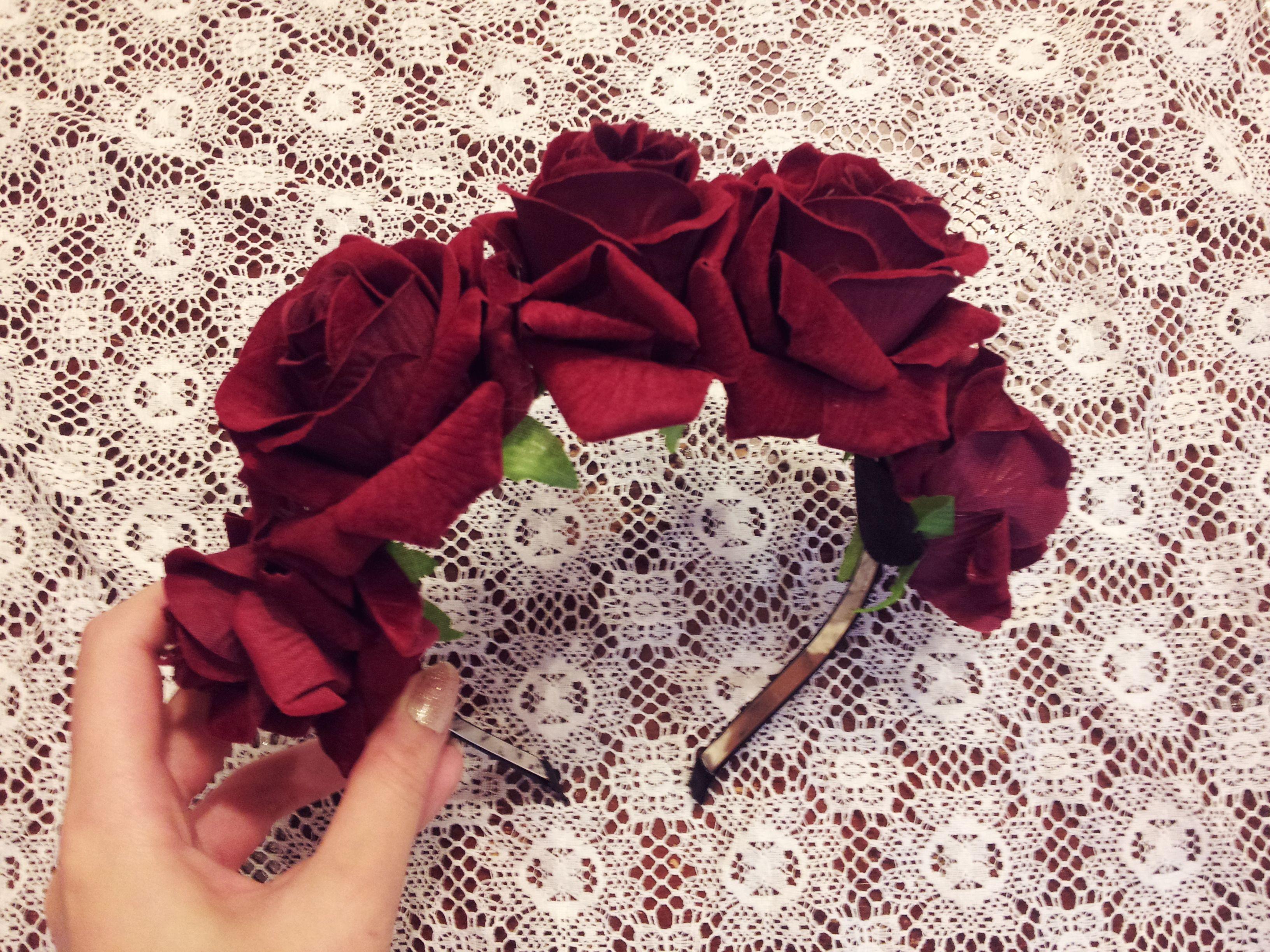 Dark Rose Flower Crown · CassieRose · Online Store Powered by Storenvy 6096451f07b