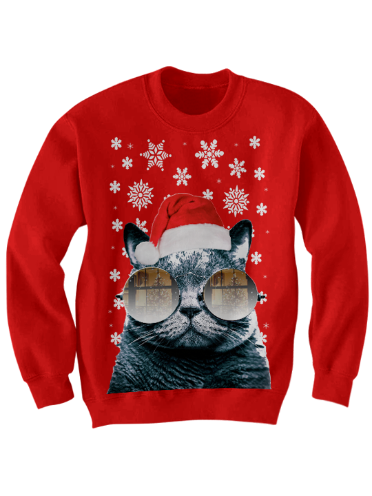 cat 20with 20christmas 20glasses 20sweatshirt 20red original - Funny Christmas Sweater