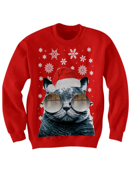 Ugly Christmas Sweater Funny.Ugly Christmas Sweater Santa Cat Sweater Cat With Glasses Christmas Sweater Christmas Gifts Holidaydeals Uglychristmassweater Funny Sweaters Sold By