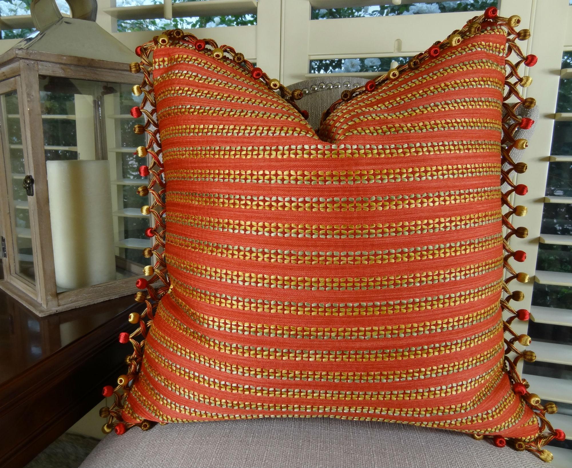 "20"" X 20"" Designer Decorative Modern Stripe Pillow"