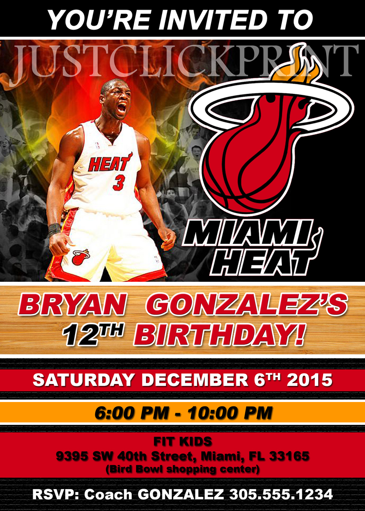 Miami Heat Basketball Party Birthday Invitation Printable