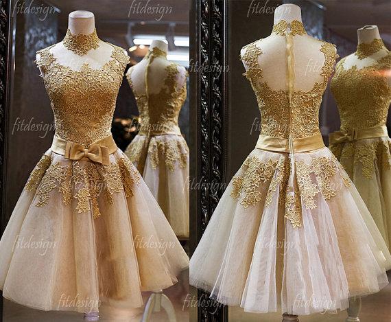 lace prom dress, gold prom dress, short prom dress, homecoming dress ...