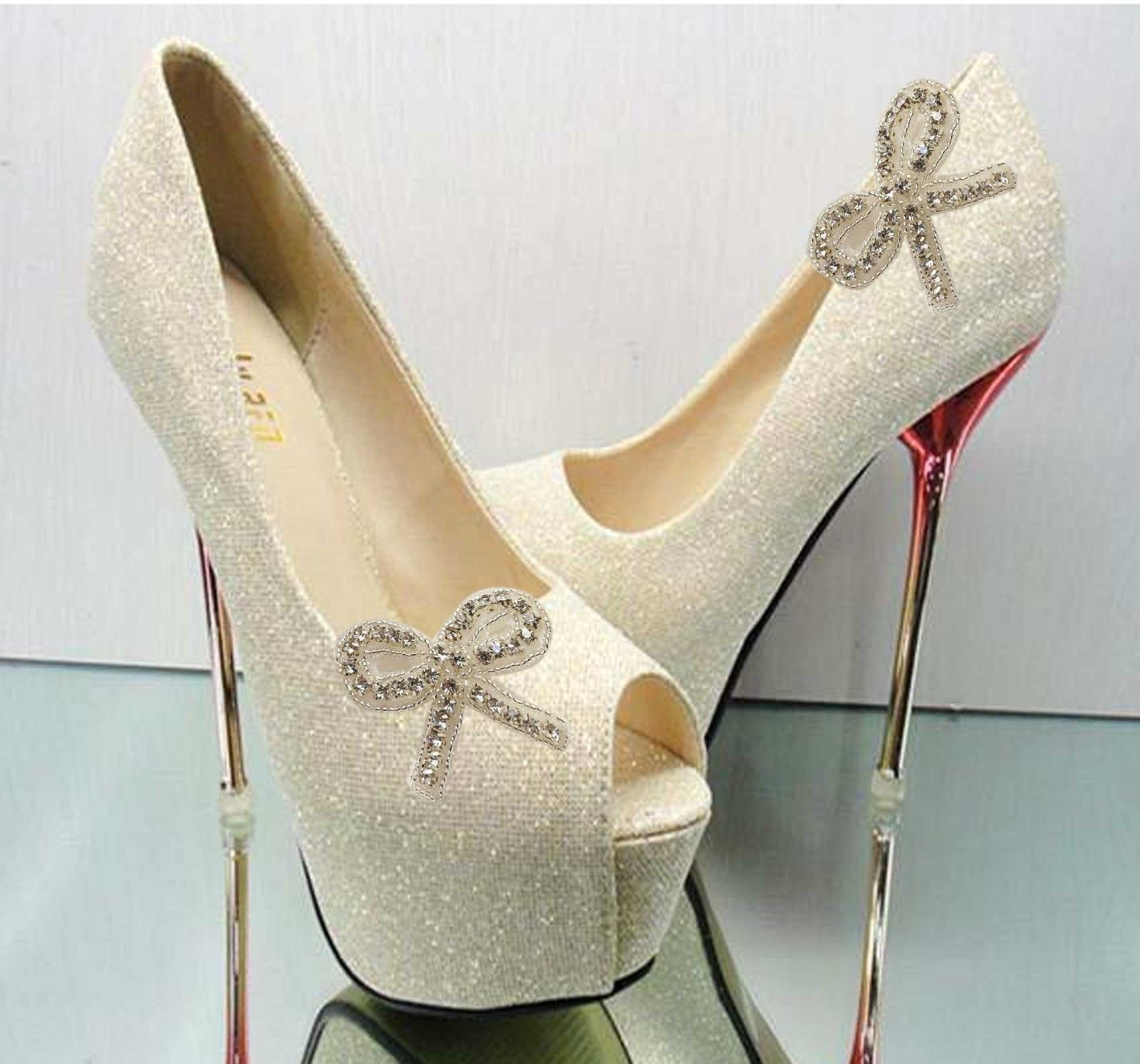 Ribbon Bow Rhinestone Crystal Wedding Bridal Sandal Shoe Clips Decorations  Pair c8e71cc88594