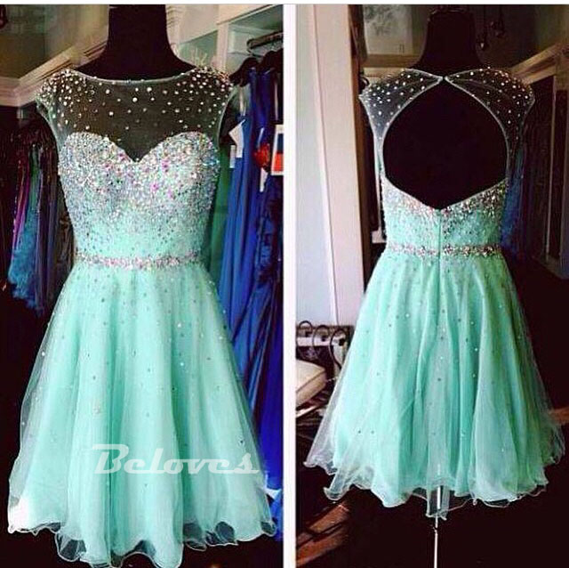 891b19bef8f Mint Green Chiffon Beaded Cocktail Dress With Keyhole Back · Beloves ...
