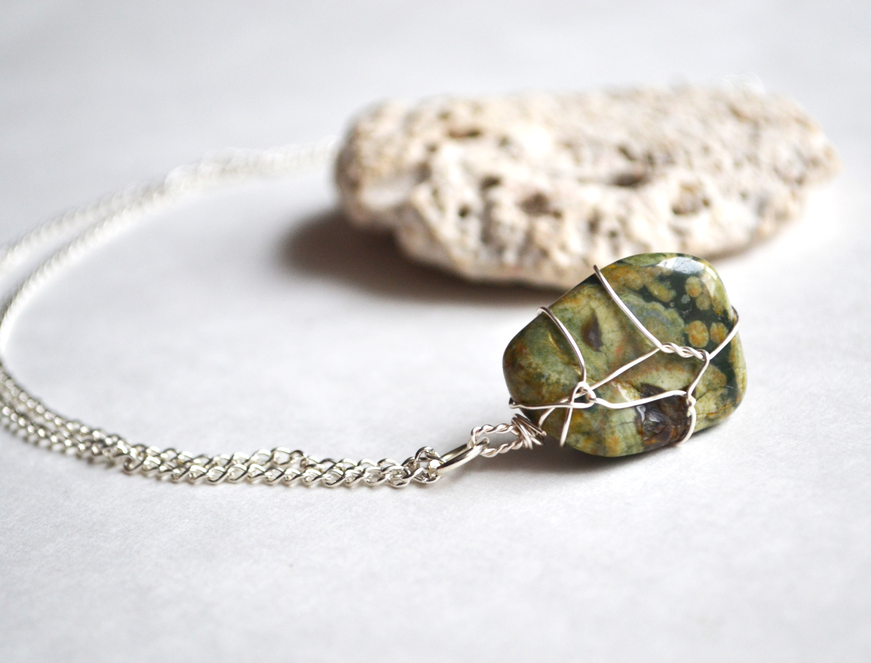 Rainforest Jasper Wire wrapped Pendant