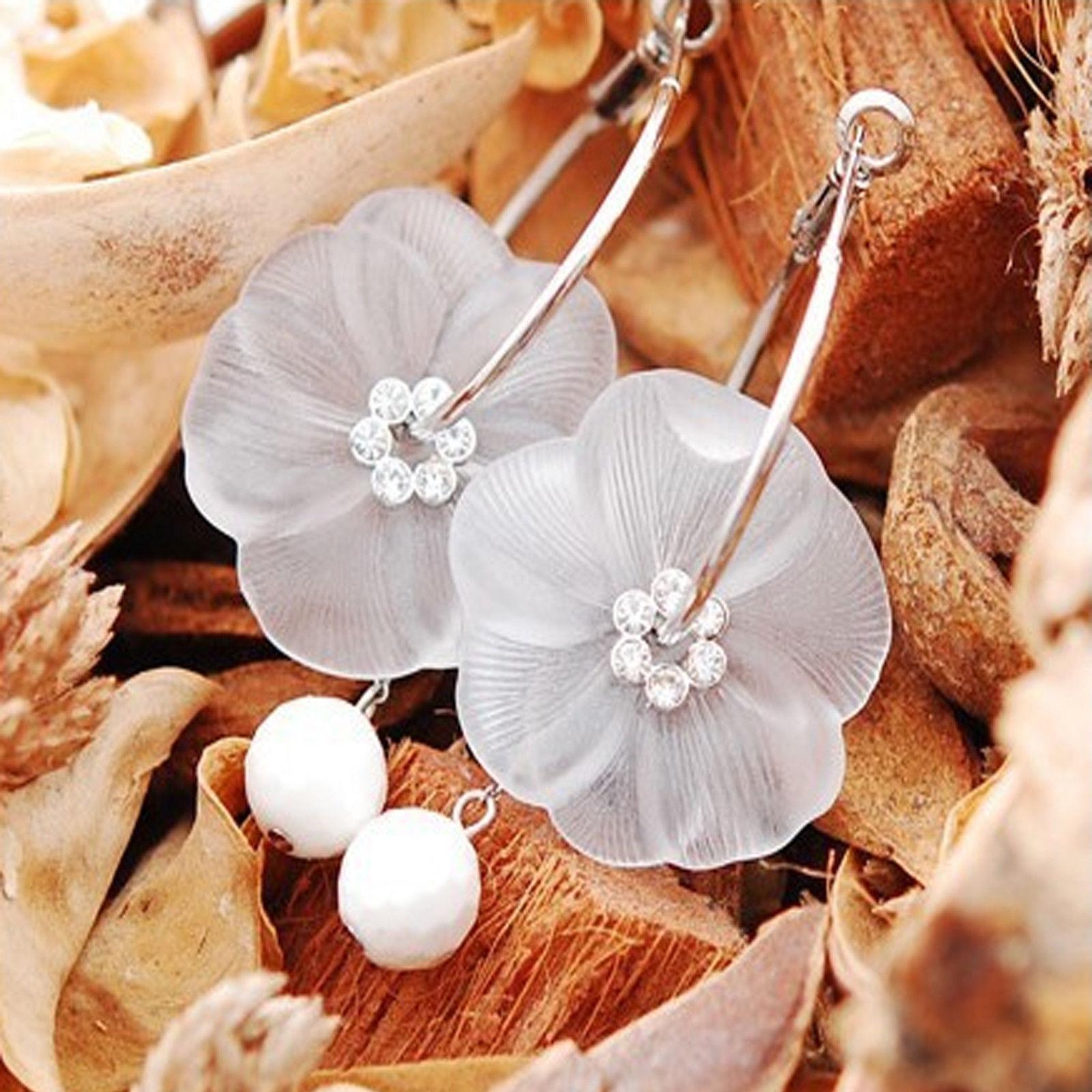 d9d532b116733b silver tone frosted lucite flower big hoop earrings rhinestone dangle charm