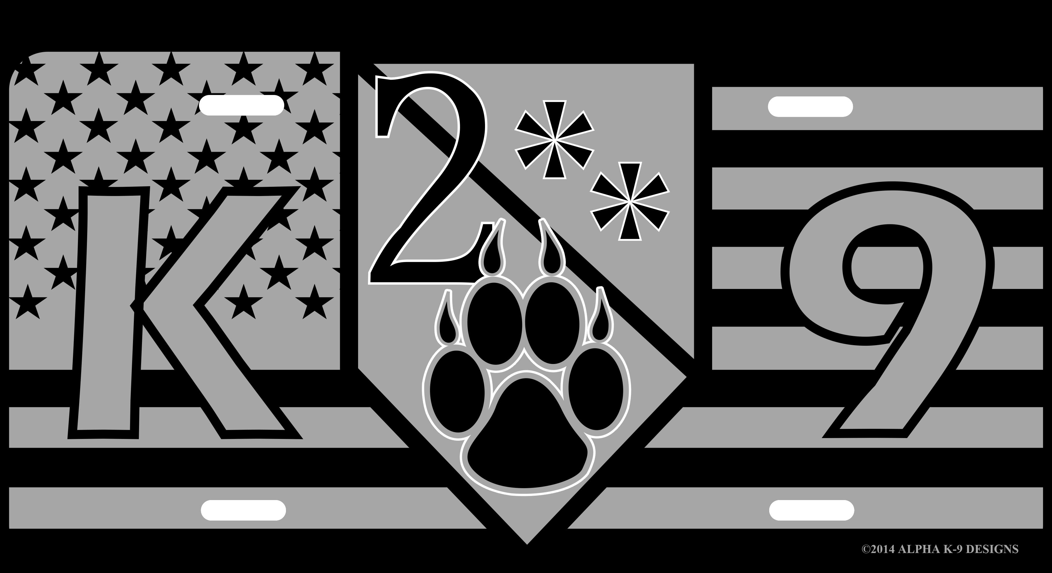 American 2 K9 Flag License Plate 183 Alpha K 9 Designs Llc