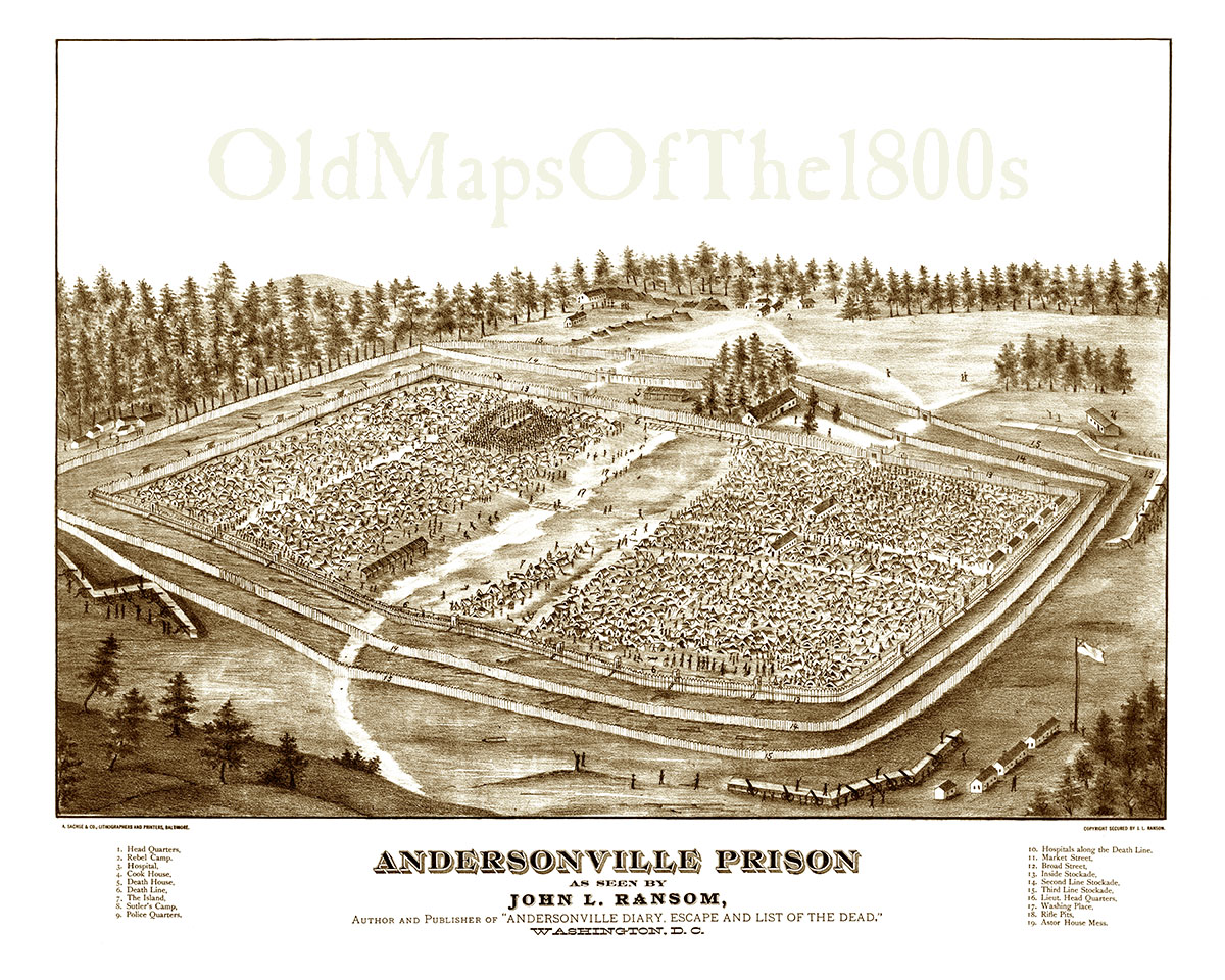 Map Of Georgia Prisons.Andersonville Prison Ga Created 1882 Bird S Eye View Map Aerial Panorama Vintage Antique Reproduction Giclee Framable Fine Art From The