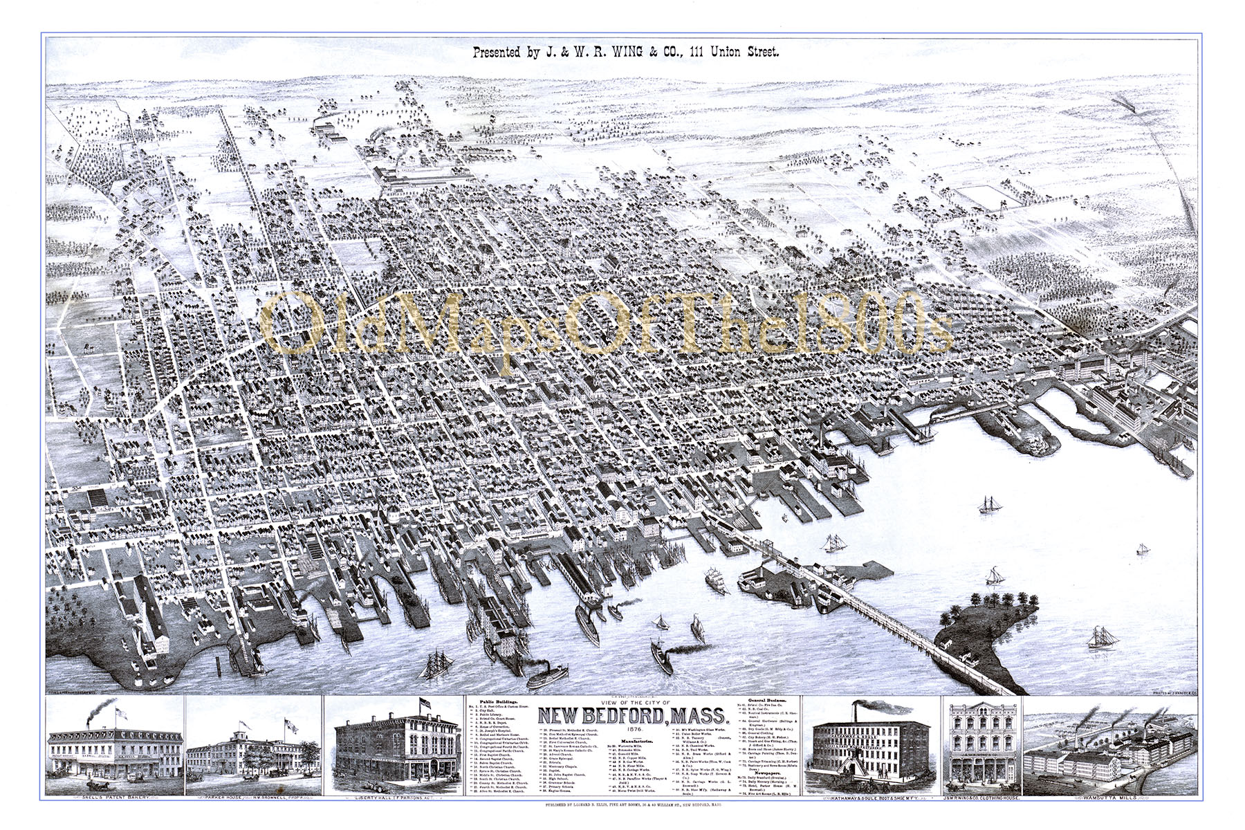 New Bedford MA in 1876 Birds Eye View Map Aerial Map Panorama