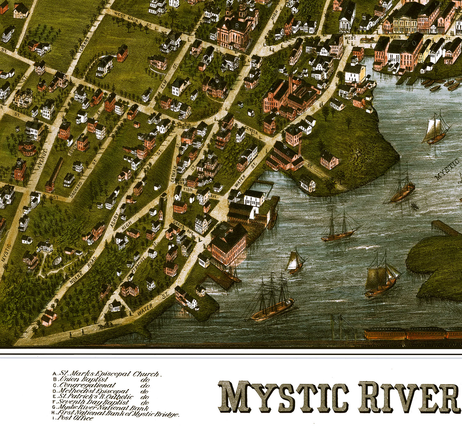 Mystic River, CT & Mystic Bridge in 1879 - Bird's Eye View, Aerial on map of indiana covered bridges, map of connecticut, map of hampton nh, map of eastern kentucky cities, mashapaug lake union ct, map downtown new london ct, map of paul st, map of pine st, map of uniontown, map of maine rivers, map of south st, map of franklin st, map of covered bridges ashtabula county ohio,