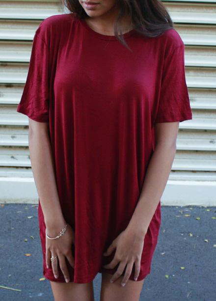 Tessa T-Shirt Dress (Maroon) on Storenvy 6b8b84f43
