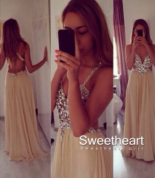 Sweetheart Girl | Champagne A-line Chiffon Backless Long Prom ...