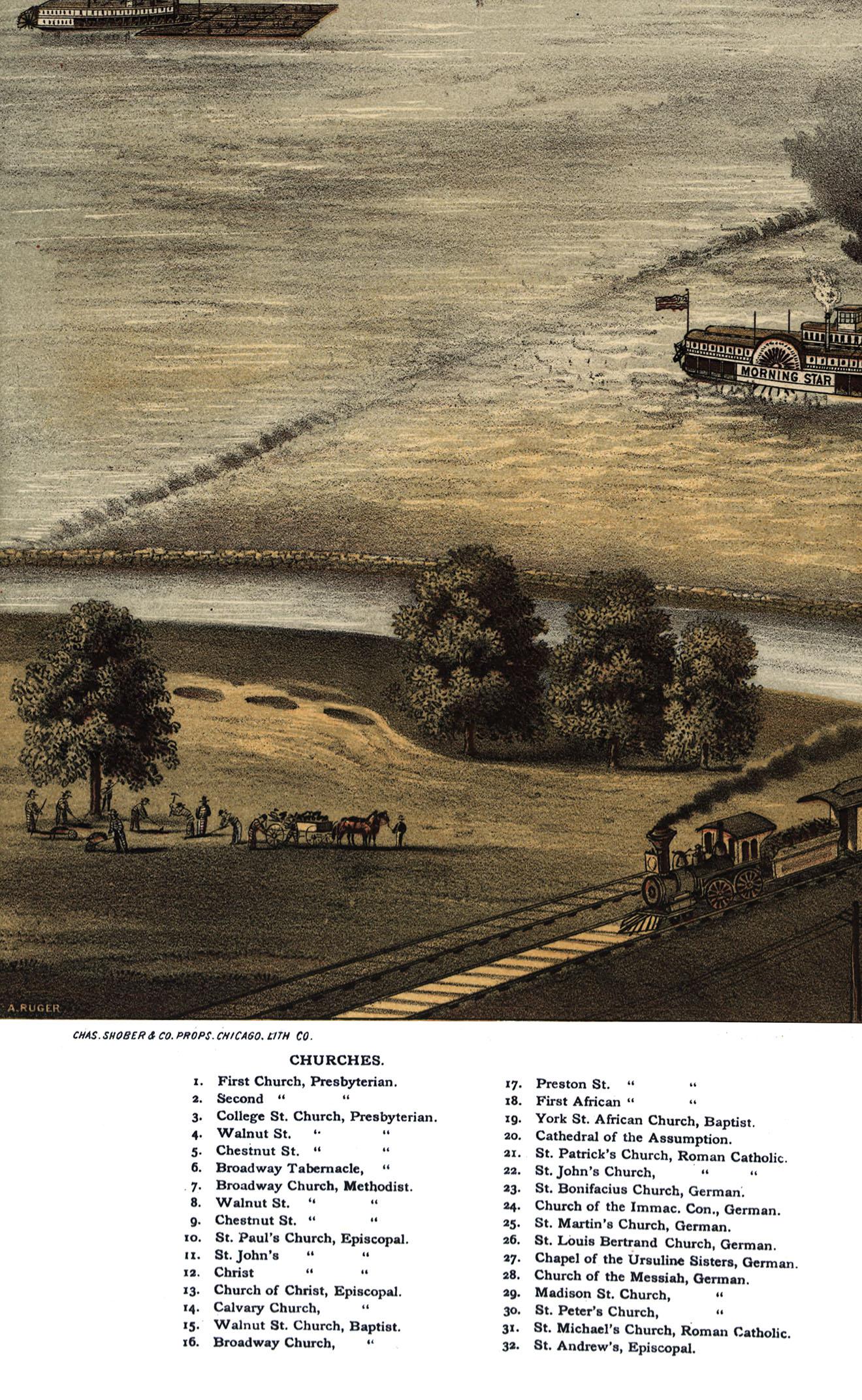 COPY POSTER MAP RUGER 1876 A BIRD/'S EYE VIEW OF LOUISVILLE KENTUCKY