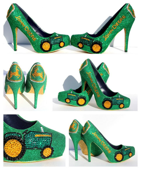 John Deere Heels With Swarovski Crystals In Green And Gold Glitter On Storenvy