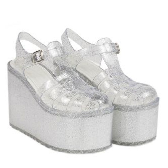 UNIF Hella Jelly platform sandals in clear glitter on Storenvy