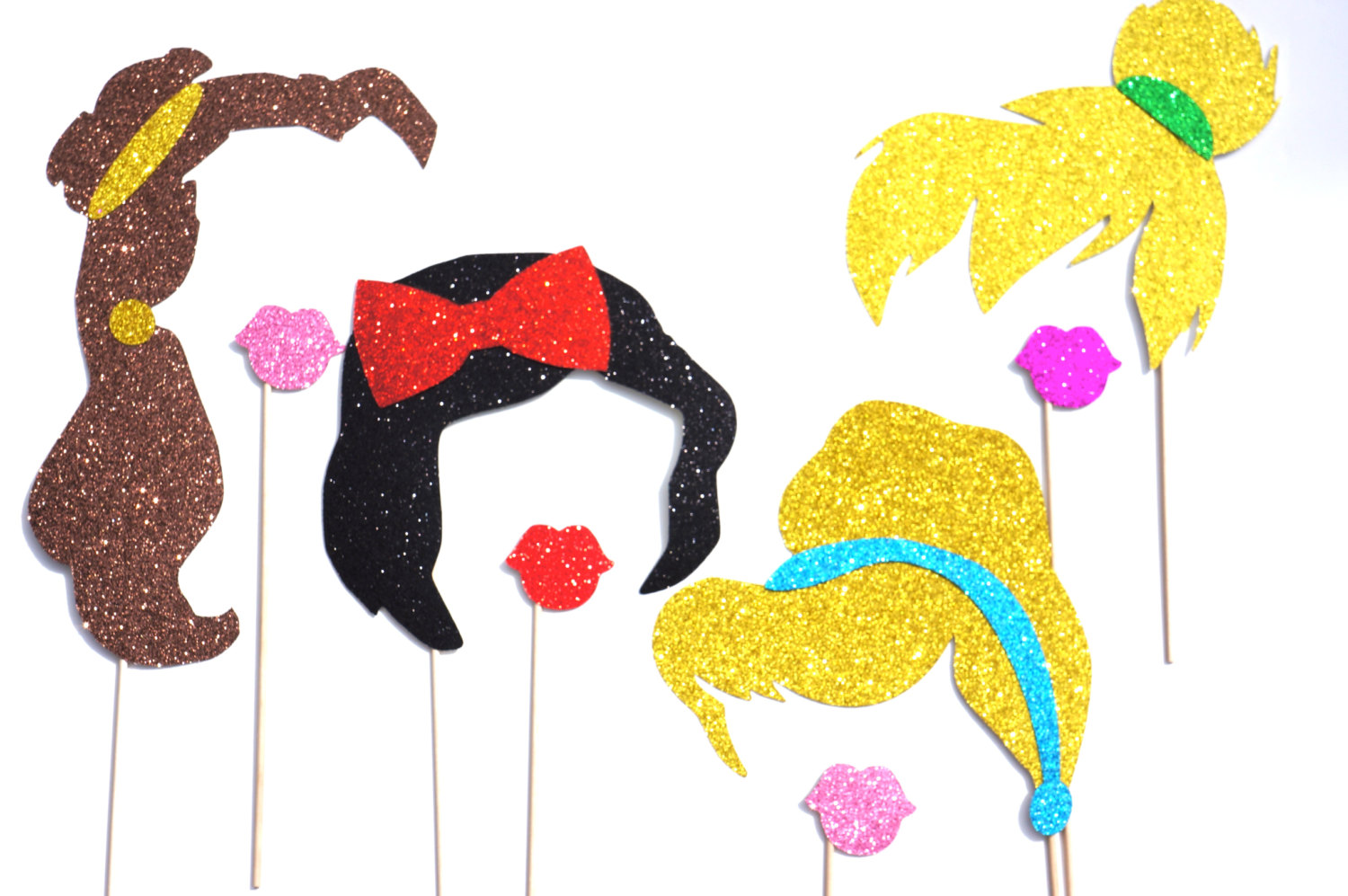 disney princess photo booth props set of 8 glitter props on storenvy
