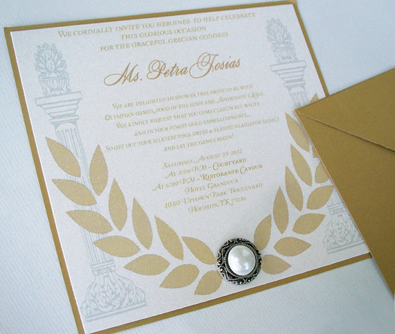 50 Grecian Goddess Bridal Shower Invitation Square 6 X 6 Bridal