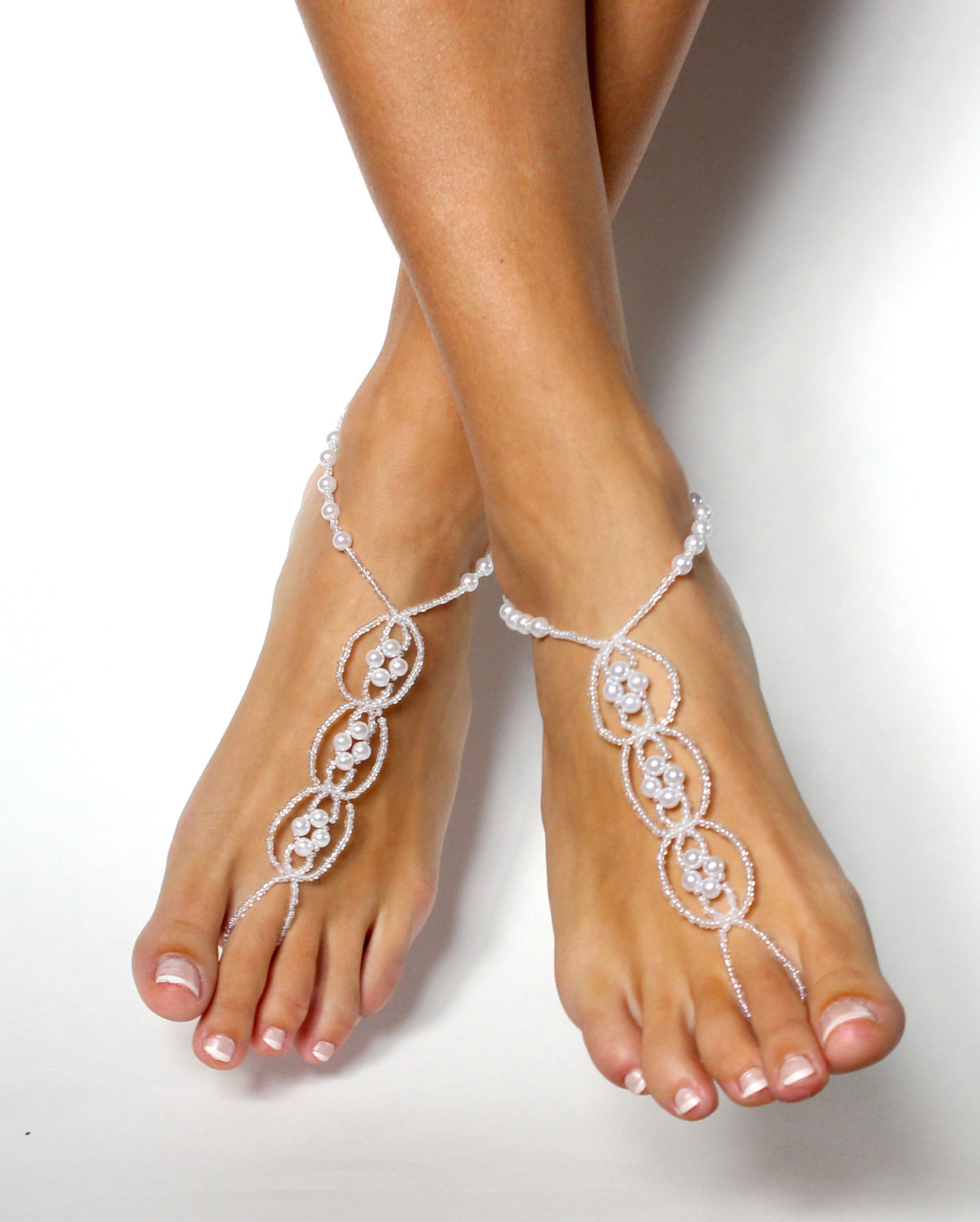 23b10cd6b8f9 Pearl Destination Wedding Shoes White Beaded Barefoot Sandals Shoeless  Sandals Anklet Foot Jewelry