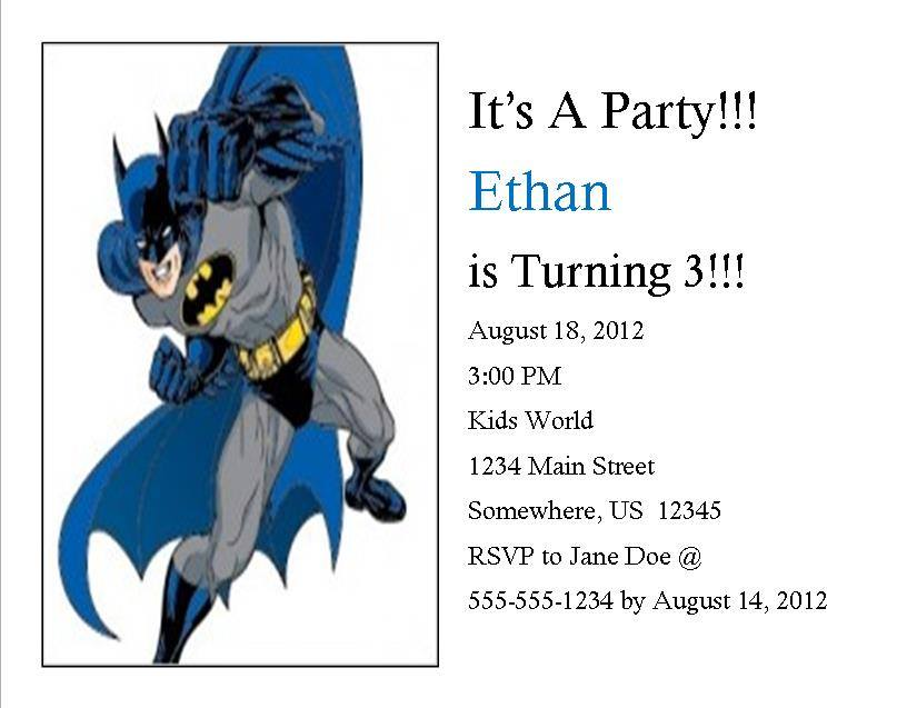 Batman Birthday Invitation 2