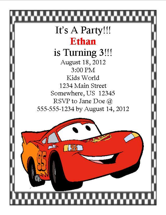 Disney Cars Birthday Invitation 1 Southern Desktop Publishing