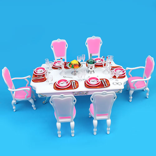 [15005650] Dining Room Barbie Size Furniture Play Set