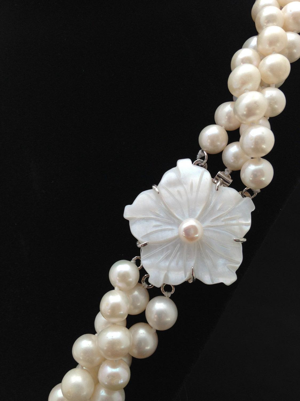f6e3937bca95e Long Pearl Necklace, 23 Inches, Genuine Pearl Necklace, Twisted Triple  strand Pearl Necklace, AA Pearl Necklace with Mother of Pearl Clasp from  ADARNA ...