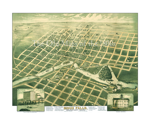 Sioux Falls South Dakota In 1881 Bird S Eye View Map Aerial Panorama Vintage Antique