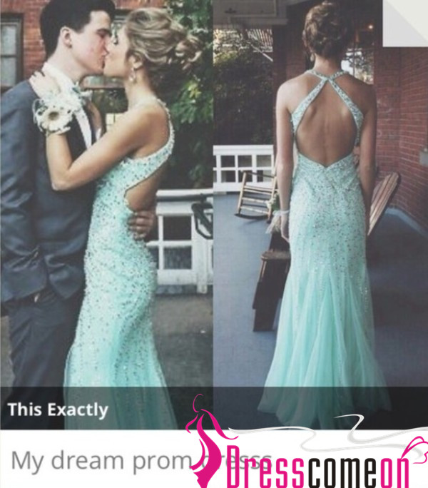 Light Blue Prom Dresses With Open Back Sparkly Beaded Bodice Long
