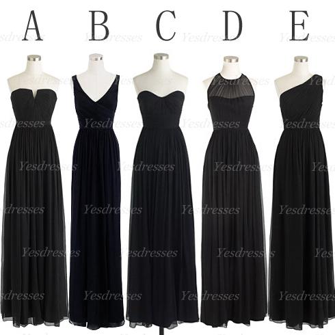 Long Black Bridesmaid Dress